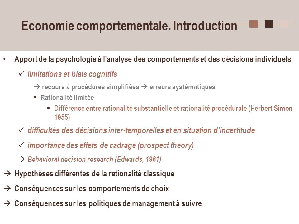 Economie comportementale. Introduction