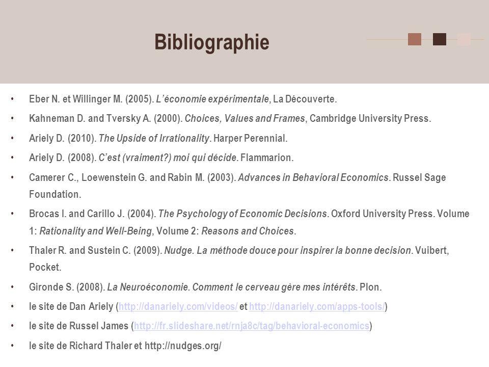 Bibliographie Eber N. et Willinger M. (2005). L'économie expérimentale, La Découverte.