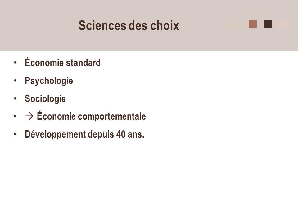 Sciences des choix Économie standard Psychologie Sociologie