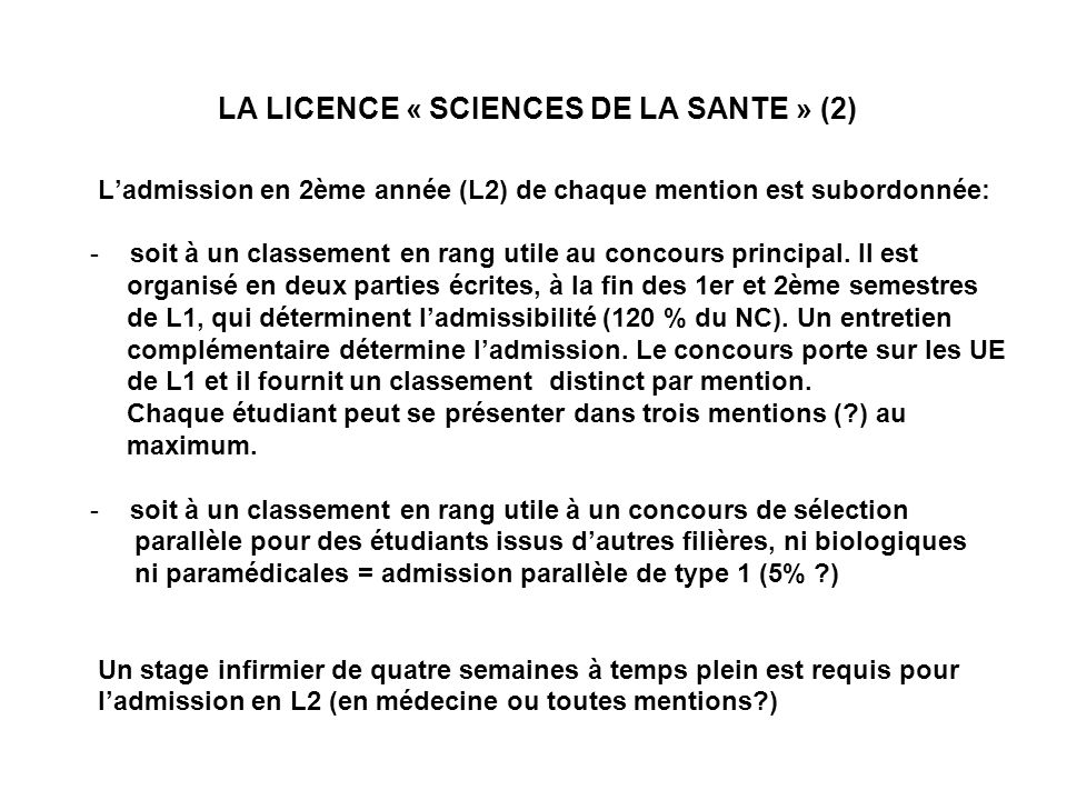 LA LICENCE « SCIENCES DE LA SANTE » (2)