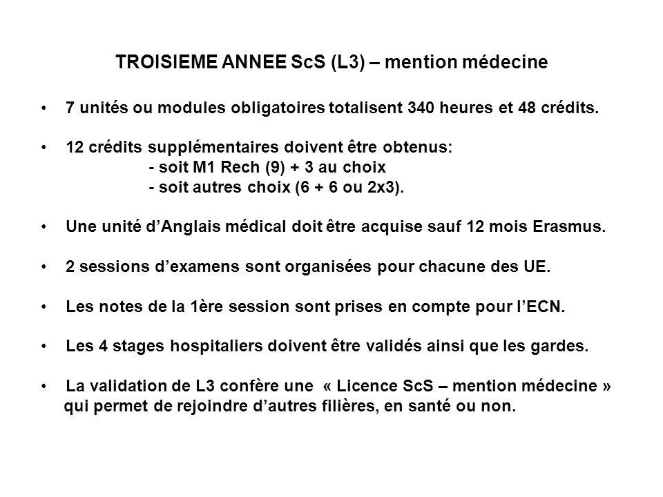 TROISIEME ANNEE ScS (L3) – mention médecine