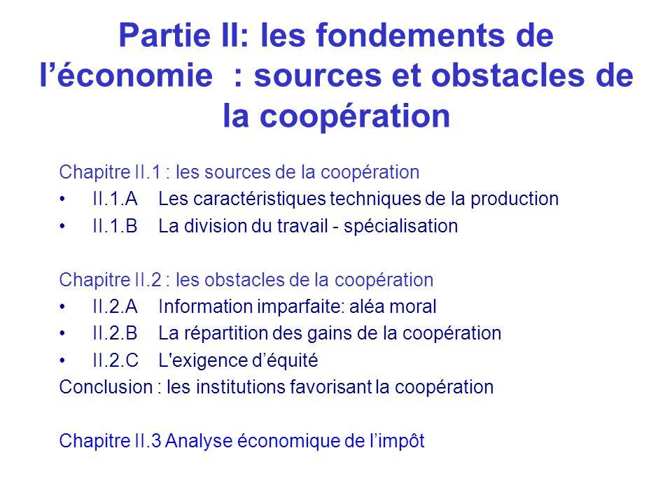 Partie II: les fondements de l'économie : sources et obstacles de la coopération