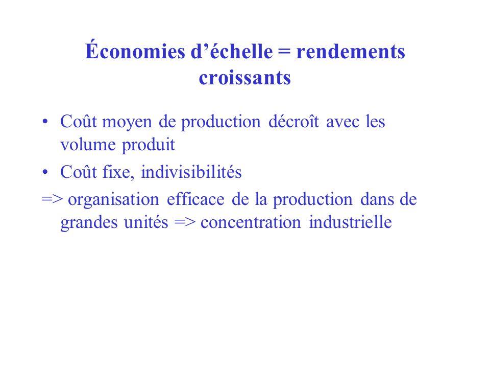 Économies d'échelle = rendements croissants