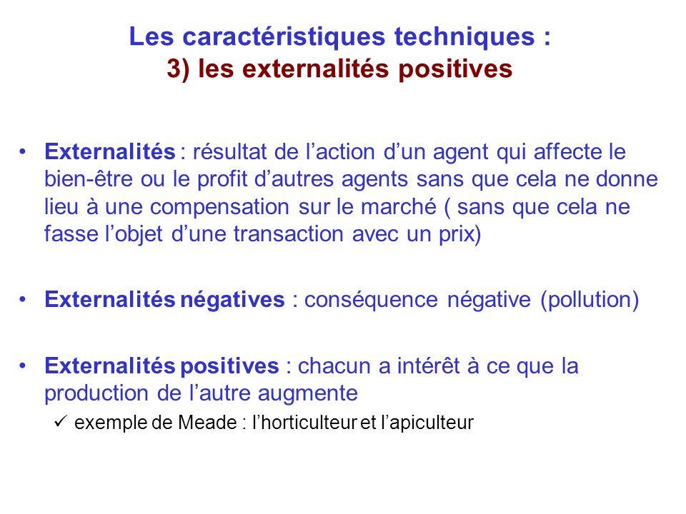 Les caractéristiques techniques : 3) les externalités positives