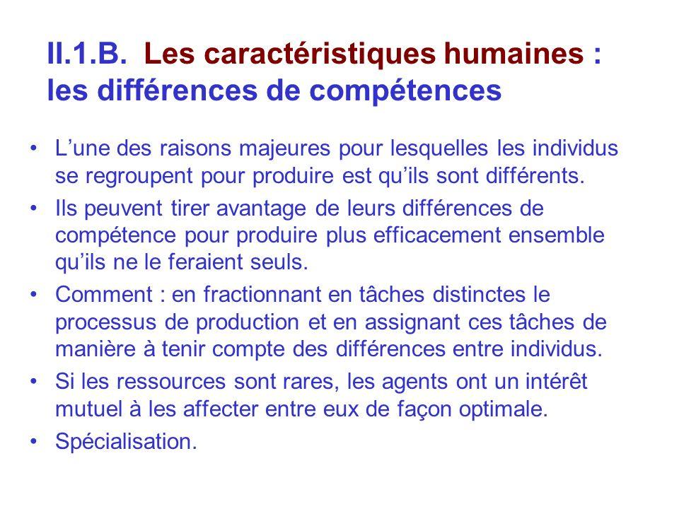 II.1.B. Les caractéristiques humaines : les différences de compétences