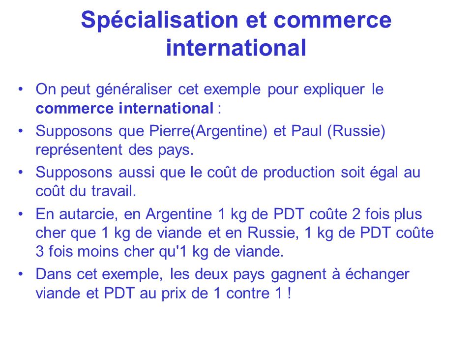 Spécialisation et commerce international