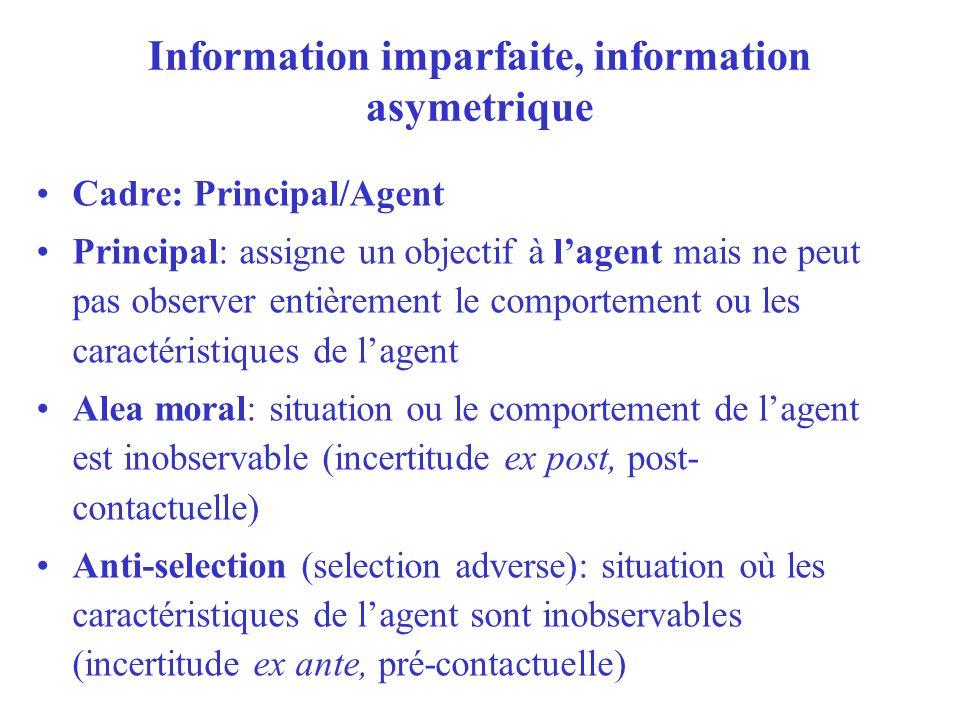 Information imparfaite, information asymetrique