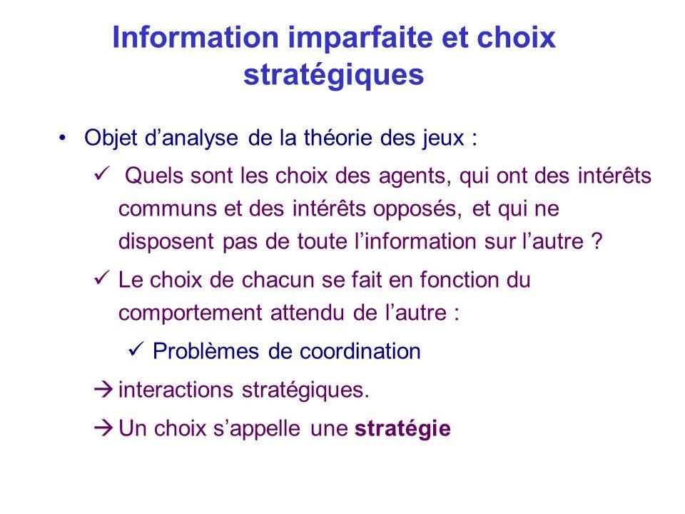 Information imparfaite et choix stratégiques