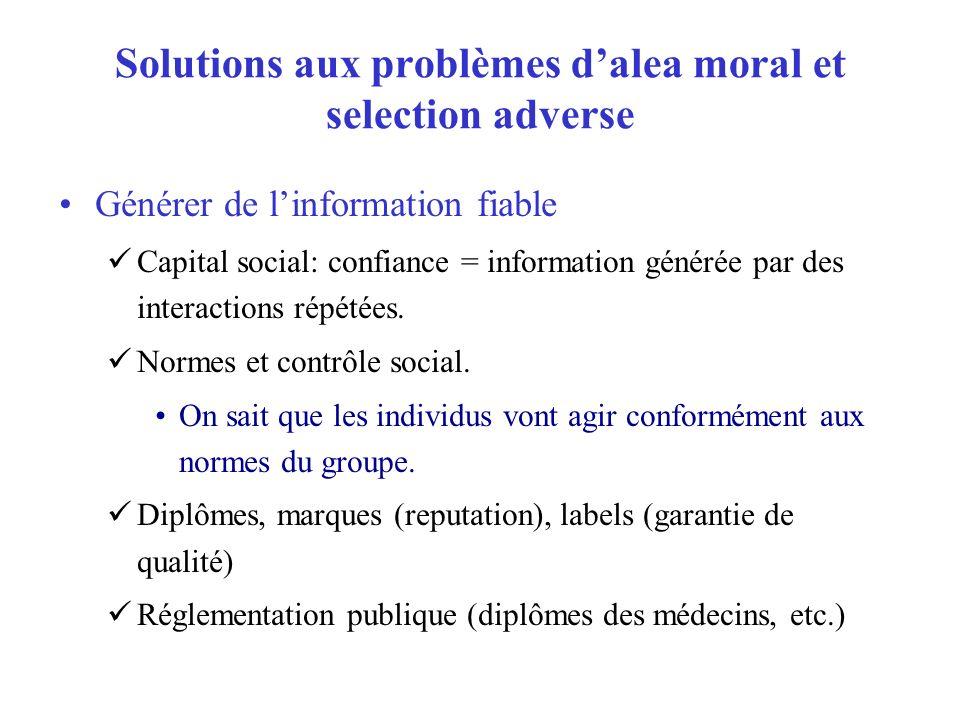 Solutions aux problèmes d'alea moral et selection adverse