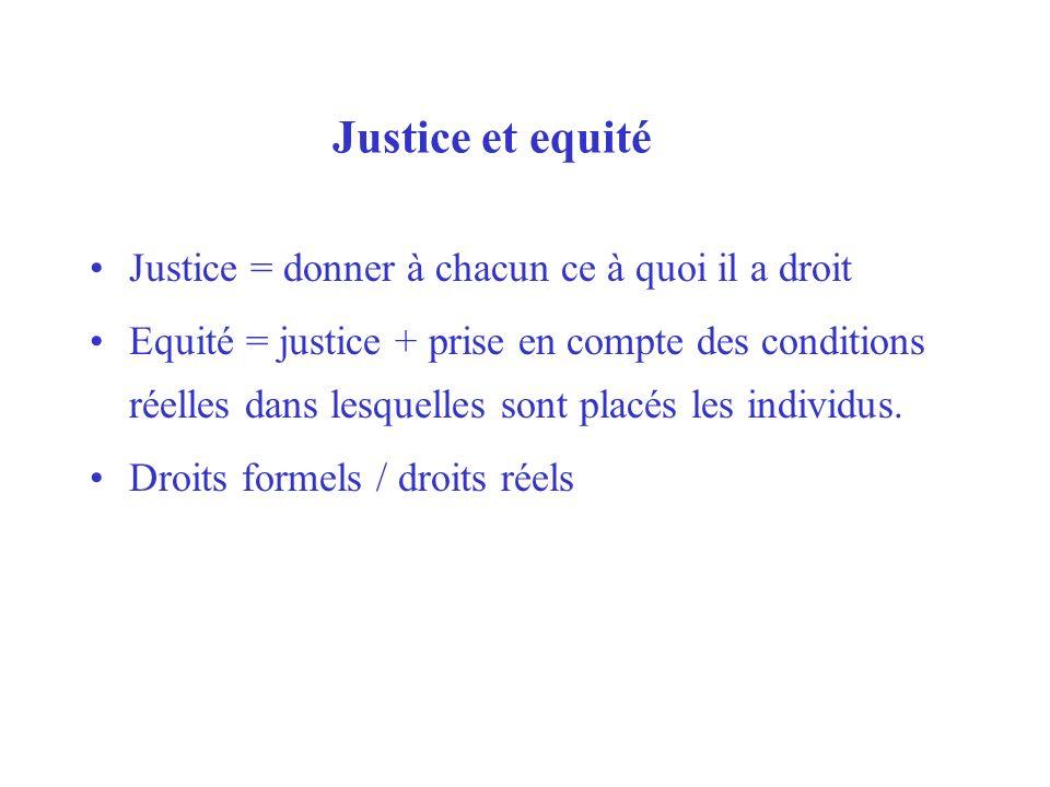 Justice et equité Justice = donner à chacun ce à quoi il a droit