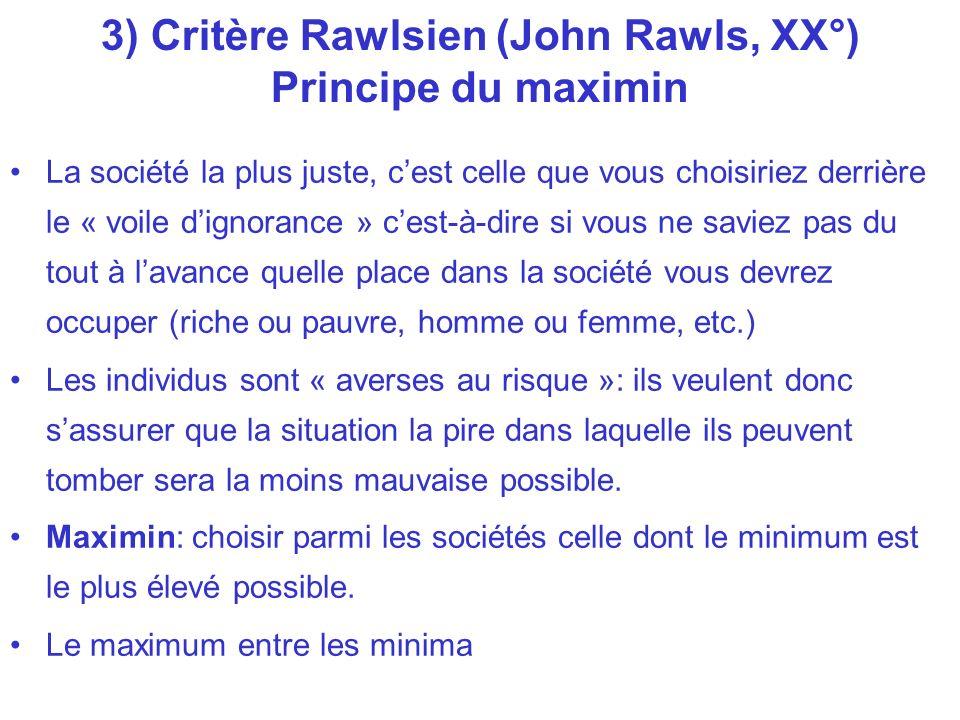 3) Critère Rawlsien (John Rawls, XX°) Principe du maximin