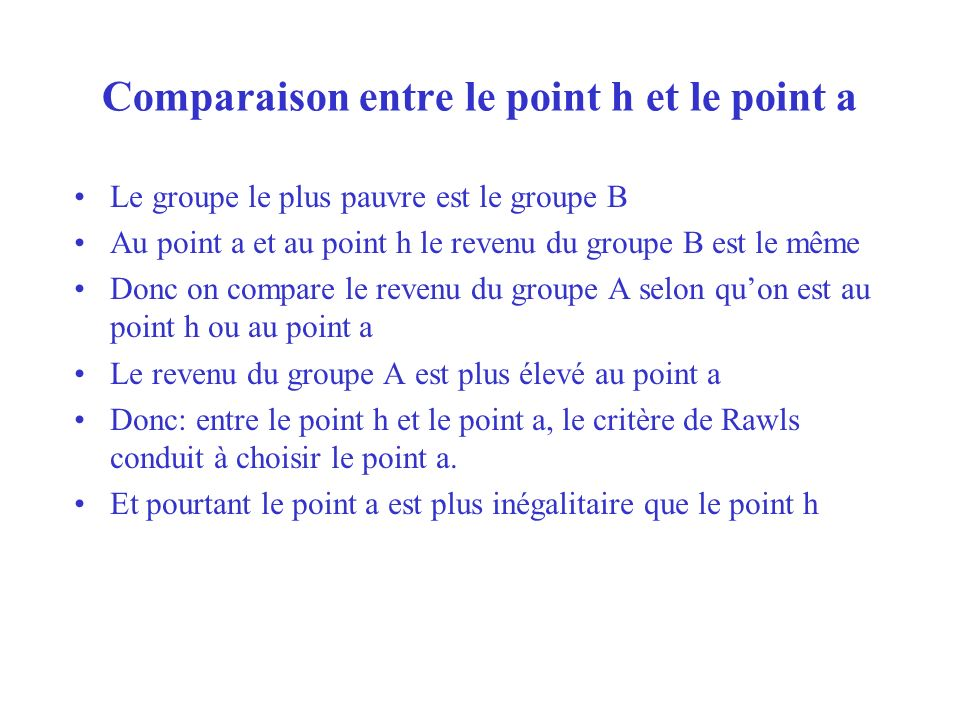 Comparaison entre le point h et le point a
