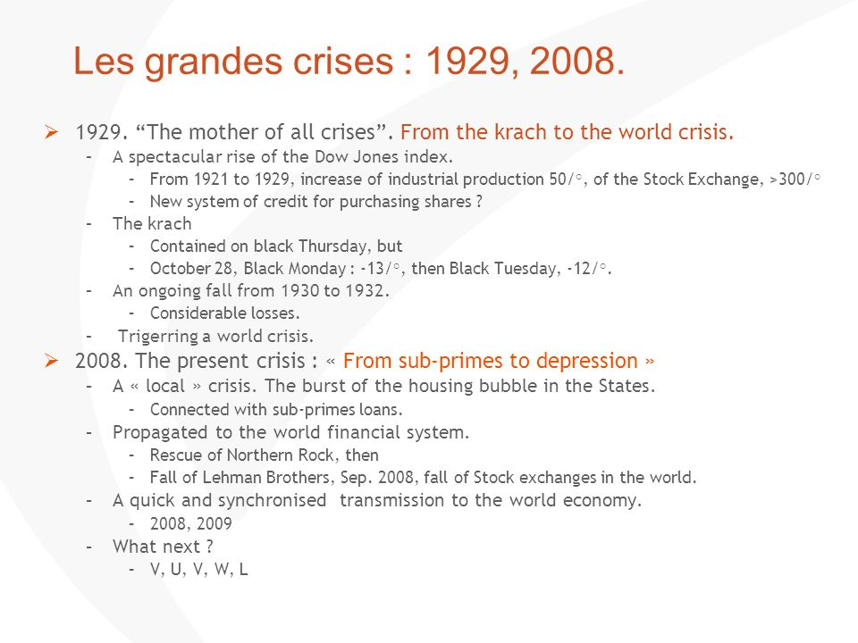 Les grandes crises : 1929, 2008. 1929. The mother of all crises . From the krach to the world crisis.