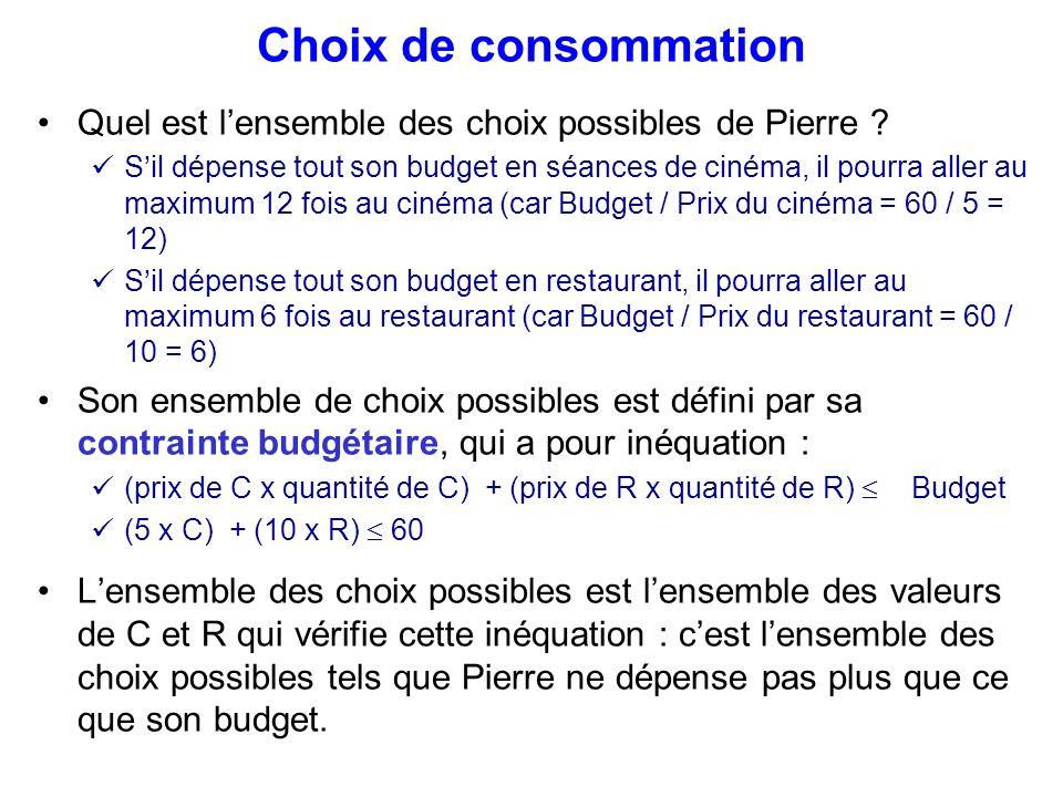 Choix de consommation Quel est l'ensemble des choix possibles de Pierre