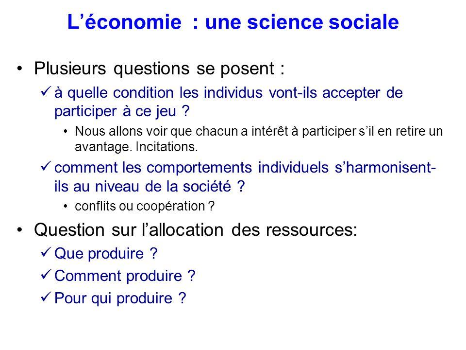 L'économie : une science sociale