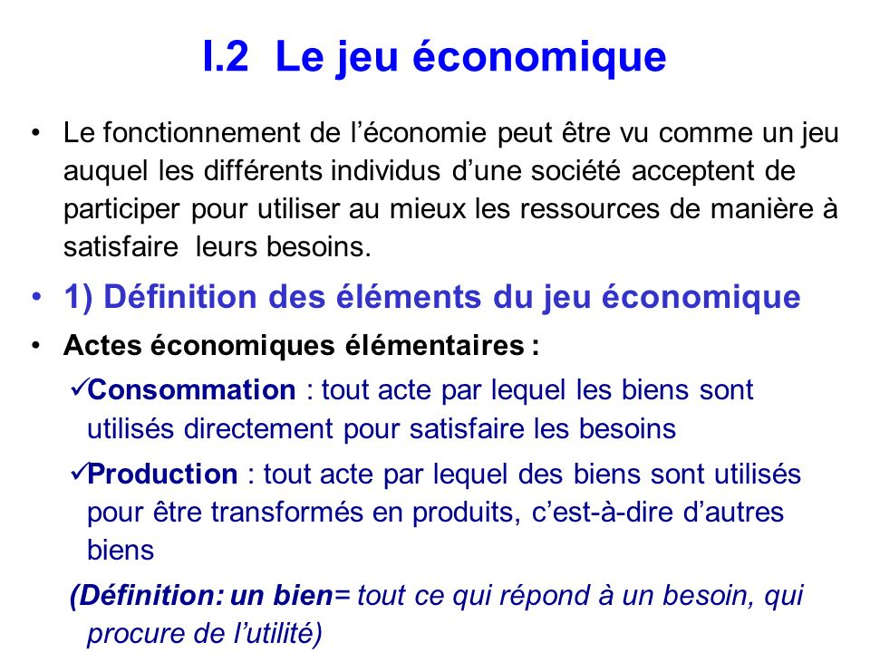 I.2 Le jeu économique 1) Définition des éléments du jeu économique