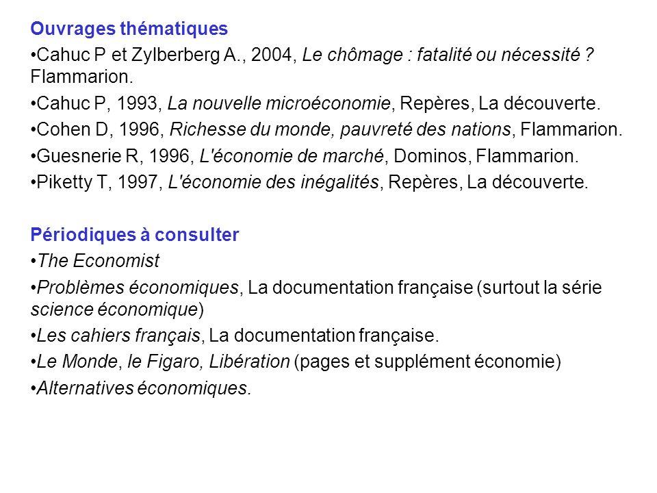 Ouvrages thématiques Cahuc P et Zylberberg A., 2004, Le chômage : fatalité ou nécessité Flammarion.