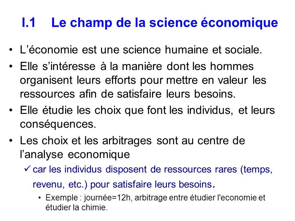 I.1 Le champ de la science économique