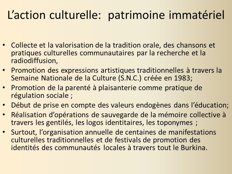 L'action culturelle: patrimoine immatériel
