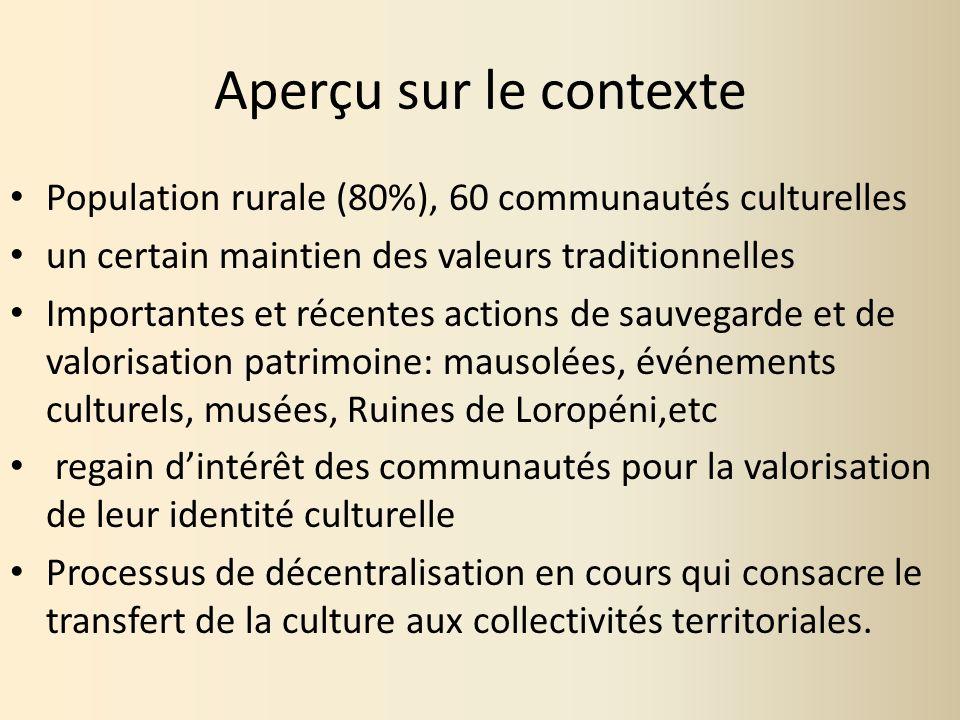 Aperçu sur le contexte Population rurale (80%), 60 communautés culturelles. un certain maintien des valeurs traditionnelles.