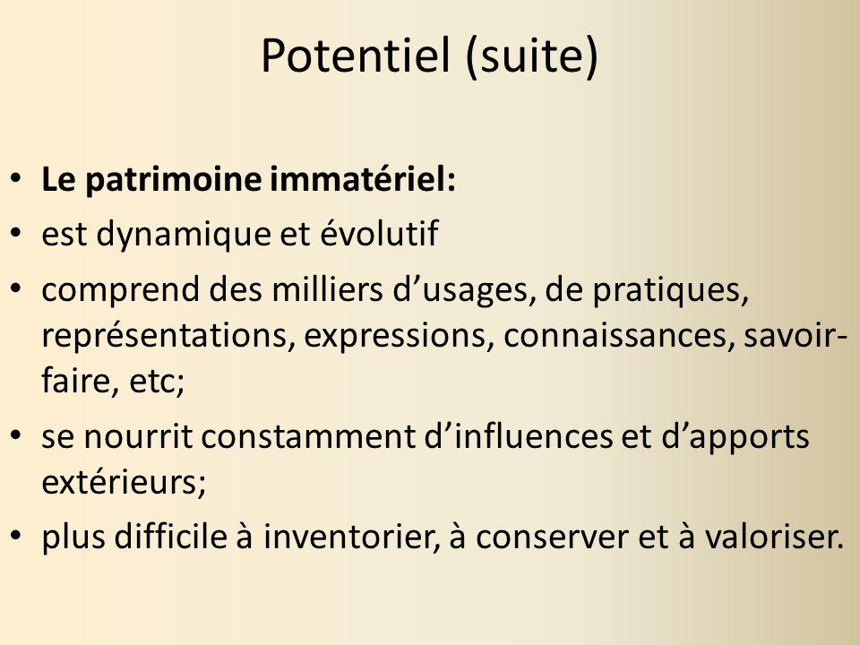 Potentiel (suite) Le patrimoine immatériel: est dynamique et évolutif