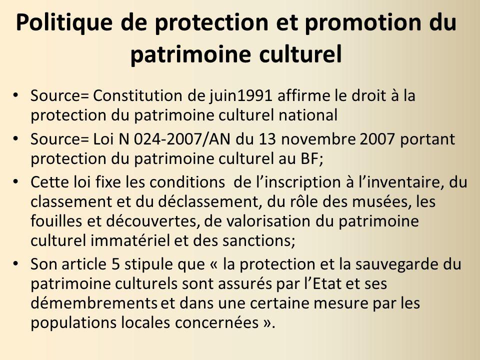 Politique de protection et promotion du patrimoine culturel