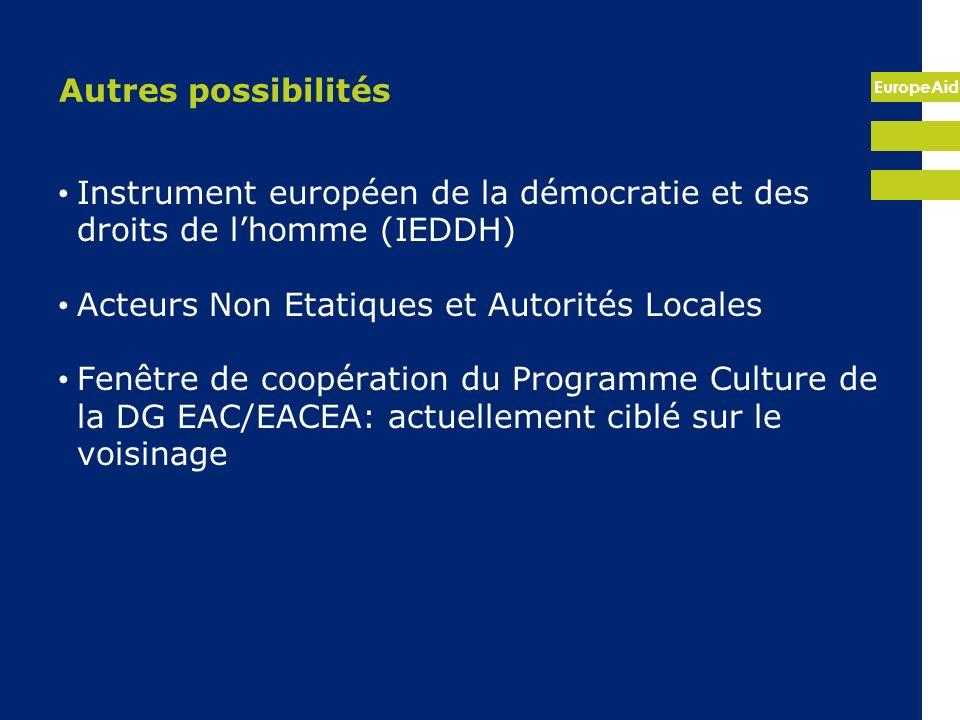 Autres possibilités Instrument européen de la démocratie et des droits de l'homme (IEDDH) Acteurs Non Etatiques et Autorités Locales.