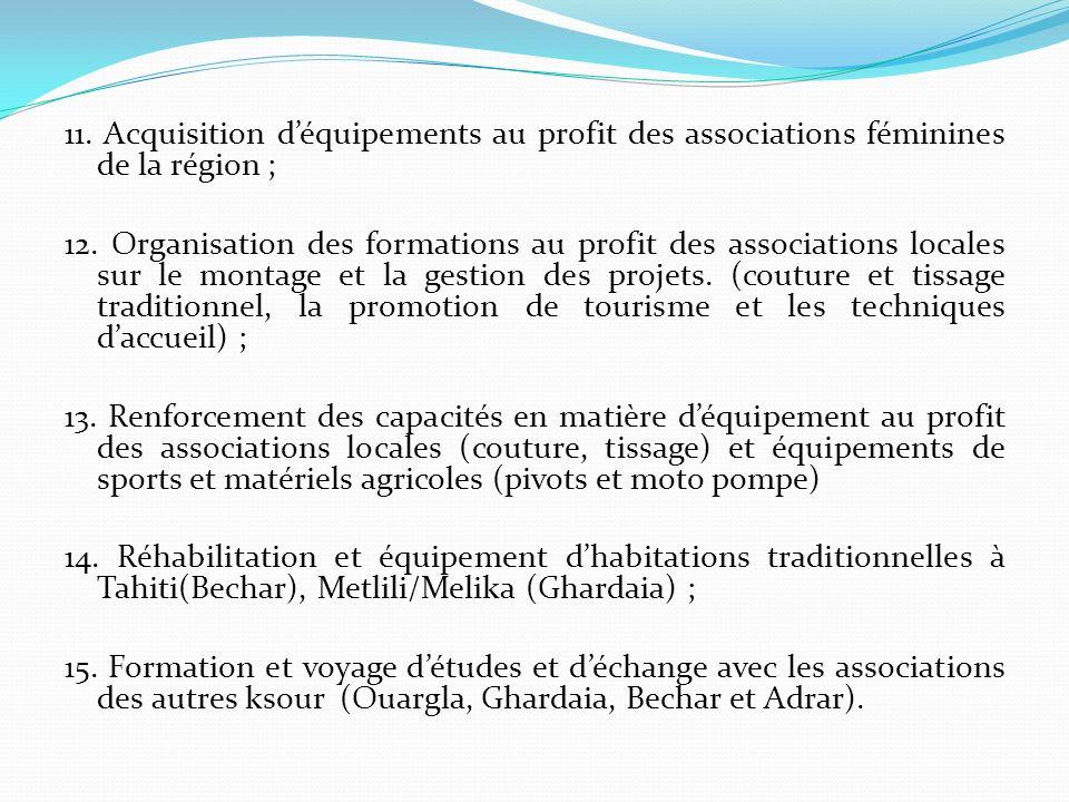 11. Acquisition d'équipements au profit des associations féminines de la région ;