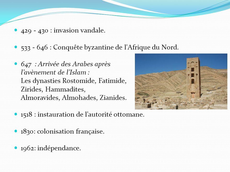 429 - 430 : invasion vandale. 533 - 646 : Conquête byzantine de l Afrique du Nord. 647 : Arrivée des Arabes après.