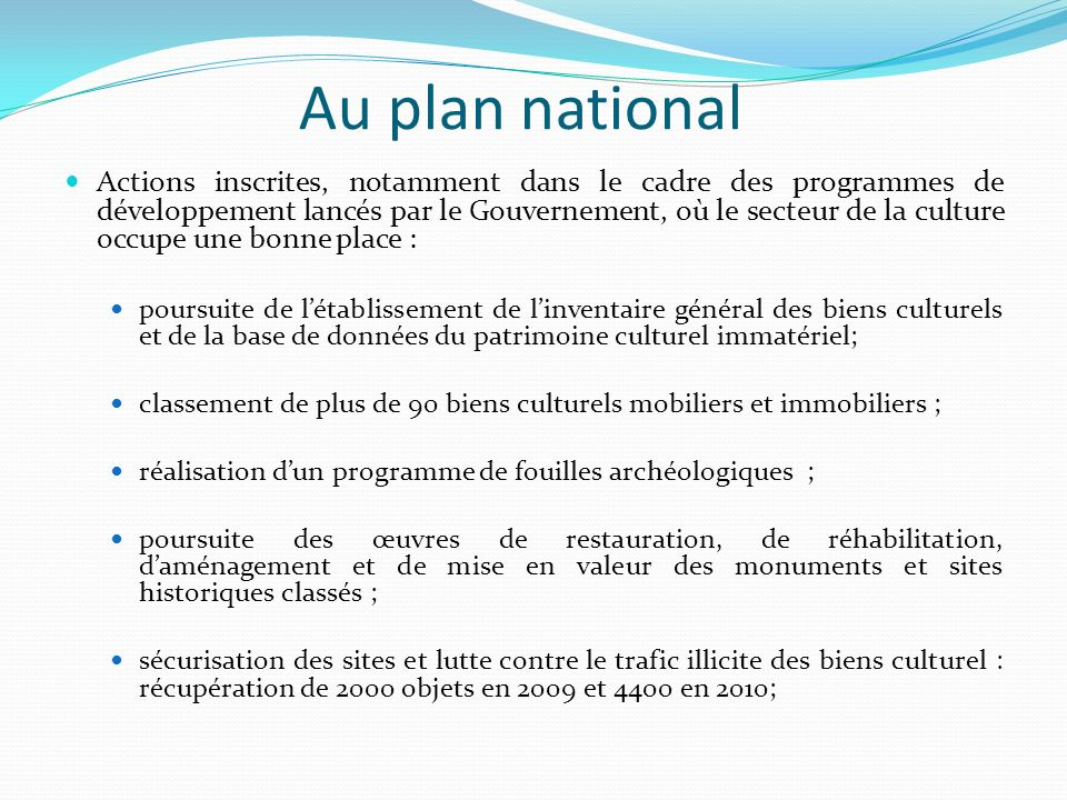 Au plan national