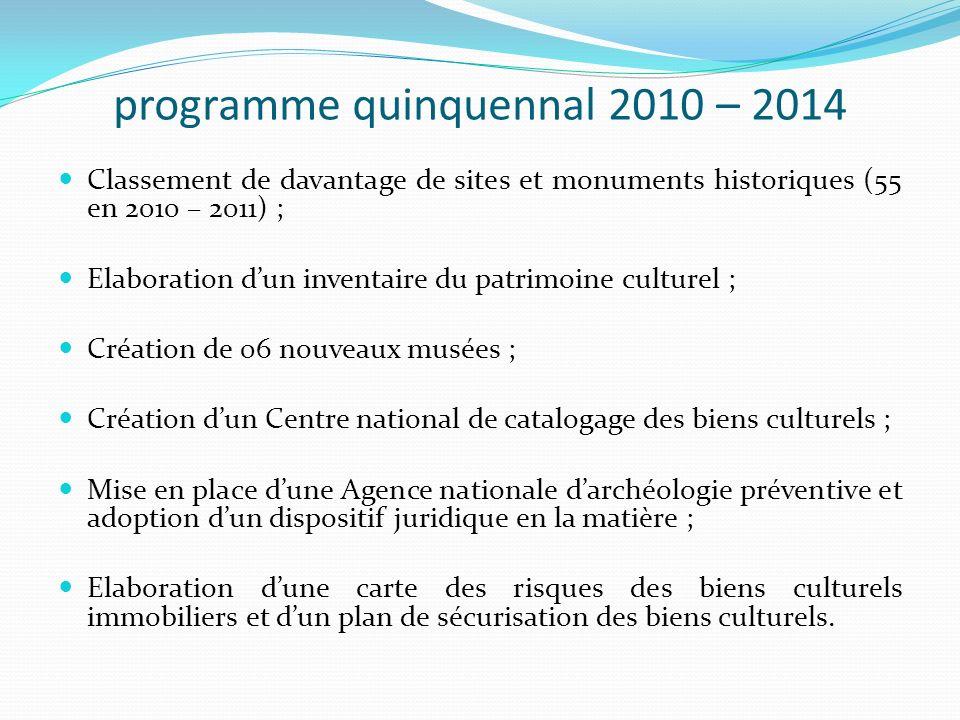 programme quinquennal 2010 – 2014