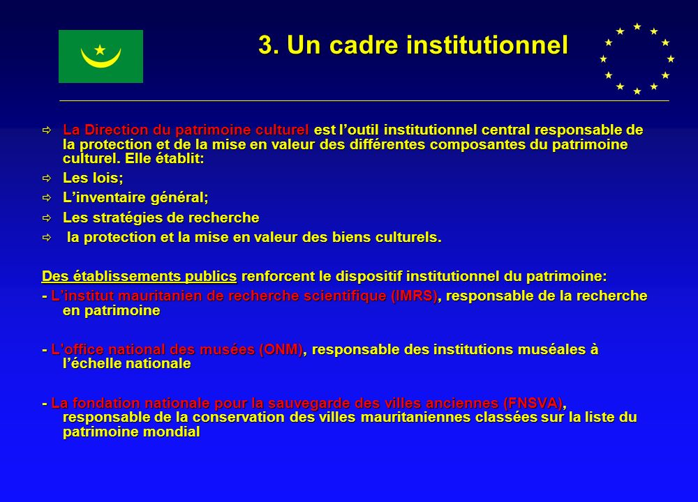 3. Un cadre institutionnel