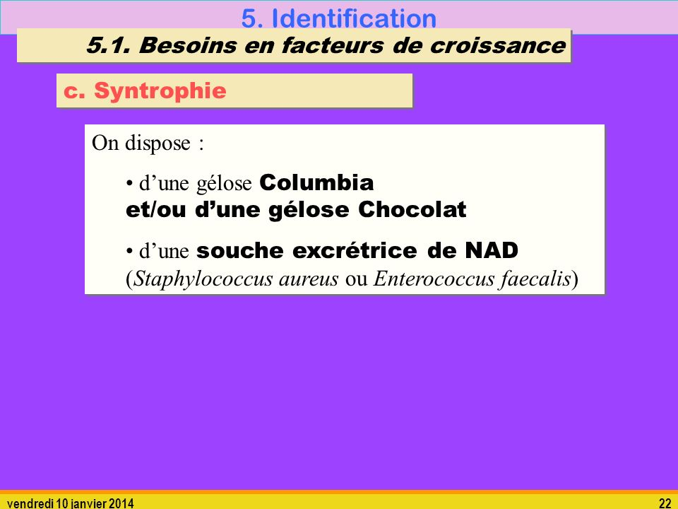 5. Identification 5.1. Besoins en facteurs de croissance c. Syntrophie