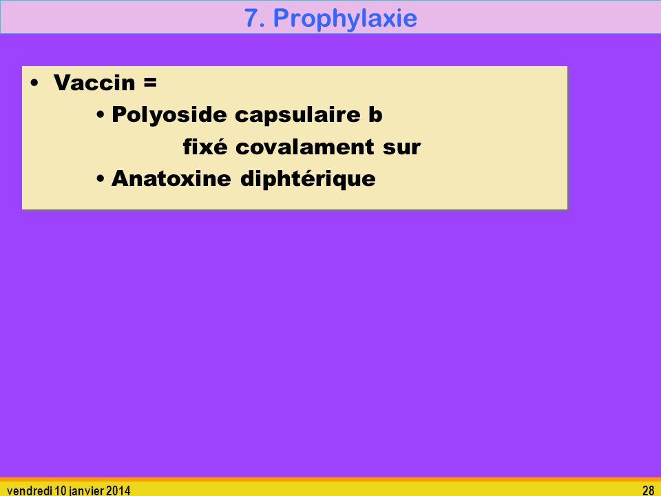 7. Prophylaxie Vaccin = Polyoside capsulaire b fixé covalament sur