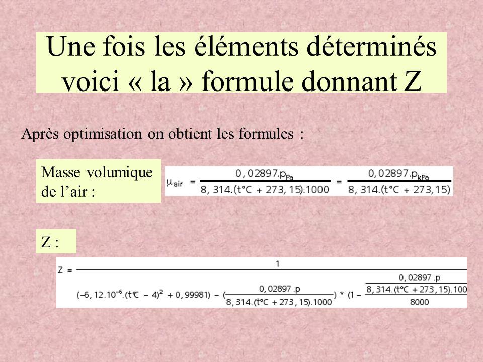 Une fois les éléments déterminés voici « la » formule donnant Z