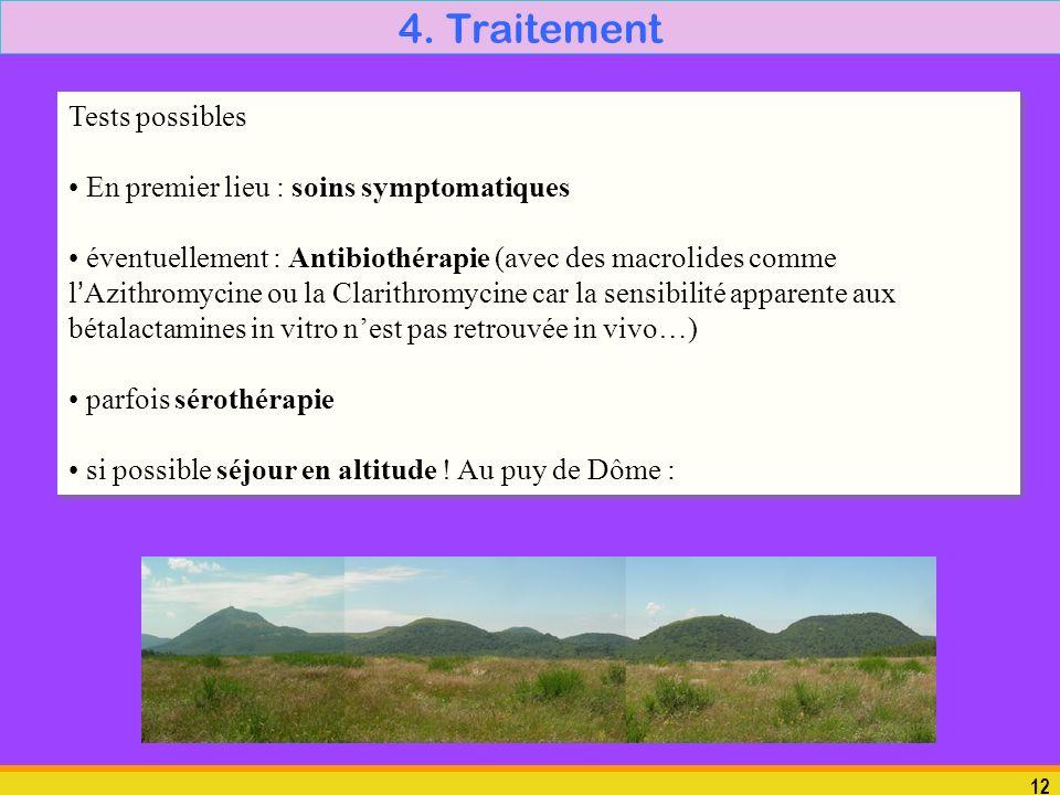 4. Traitement Tests possibles En premier lieu : soins symptomatiques