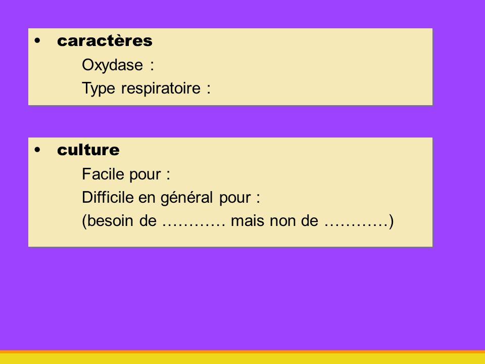 caractèresOxydase : Type respiratoire : culture.