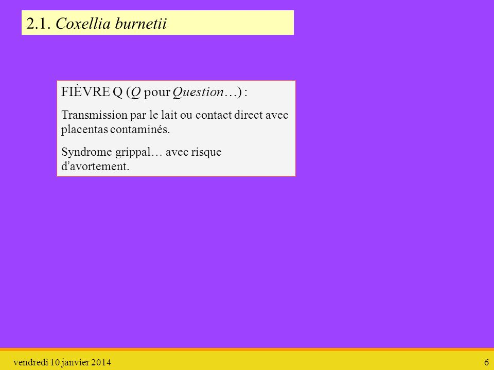2.1. Coxellia burnetii FIÈVRE Q (Q pour Question…) :