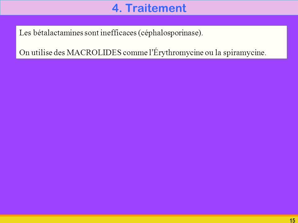 4. Traitement Les bétalactamines sont inefficaces (céphalosporinase).