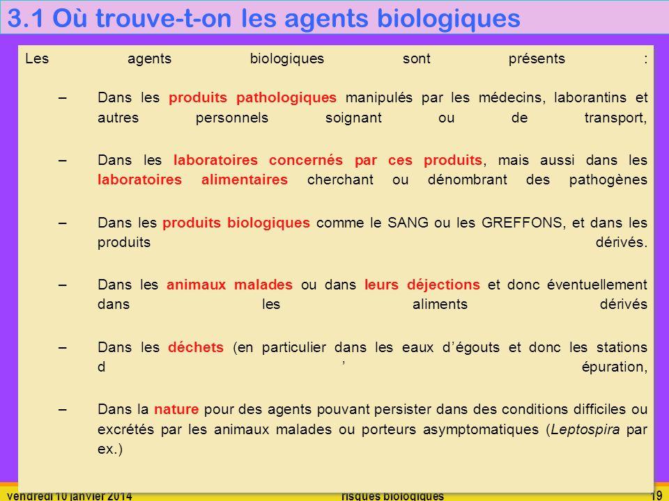 3.1 Où trouve-t-on les agents biologiques