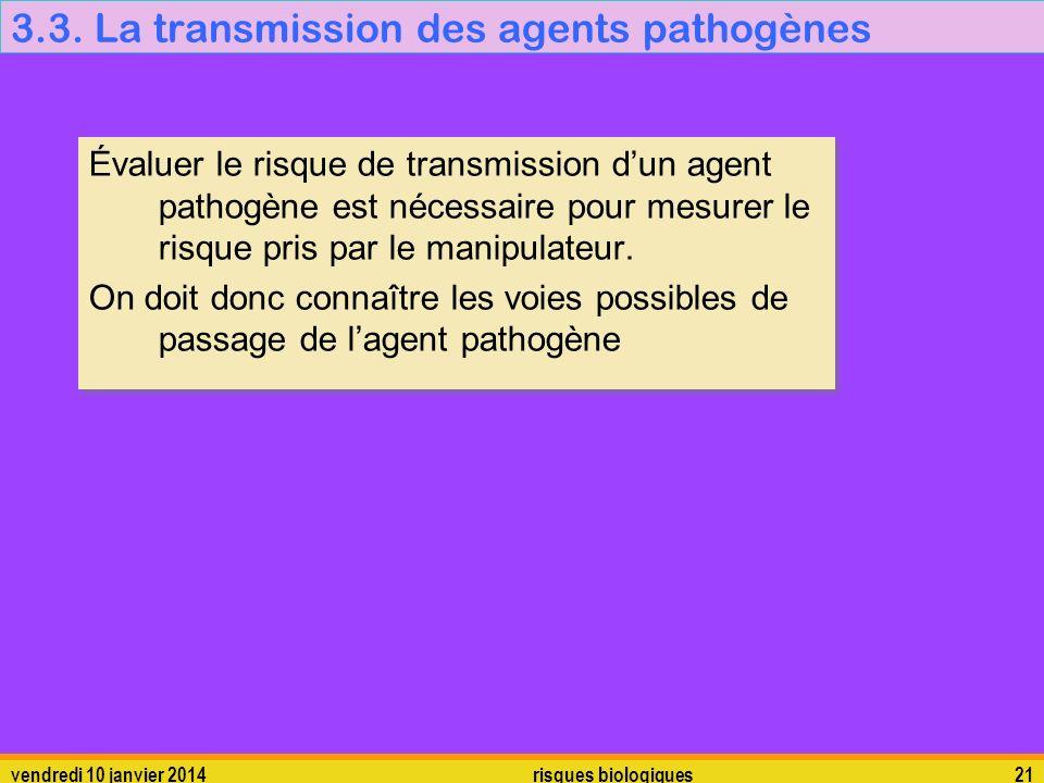 3.3. La transmission des agents pathogènes