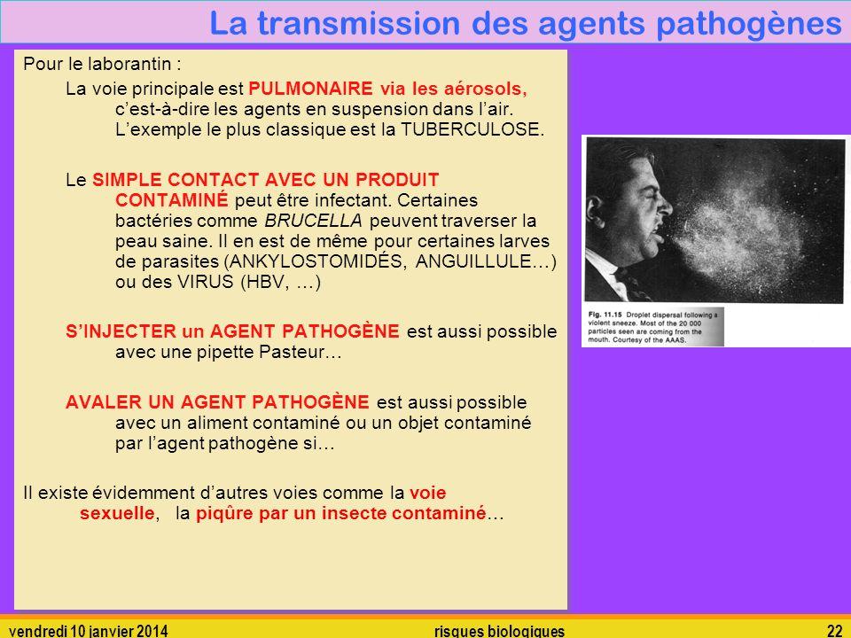 La transmission des agents pathogènes