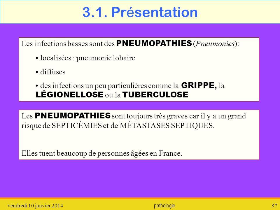3.1. Présentation Les infections basses sont des PNEUMOPATHIES (Pneumonies): localisées : pneumonie lobaire.
