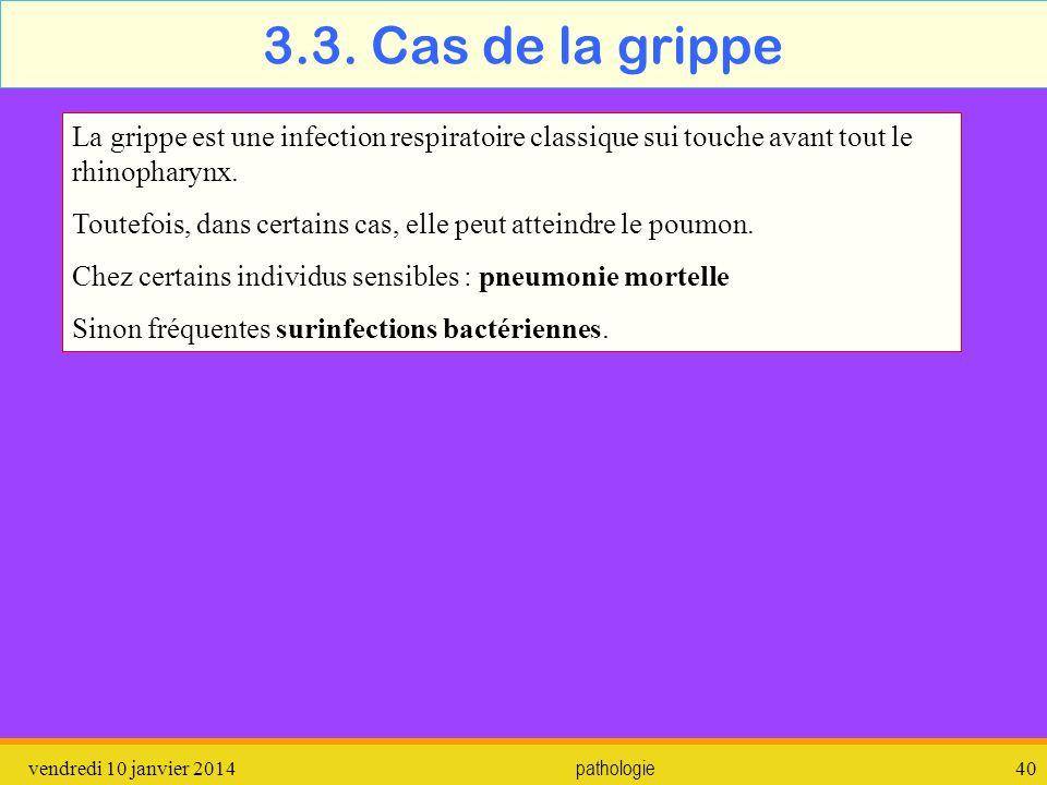 3.3. Cas de la grippe La grippe est une infection respiratoire classique sui touche avant tout le rhinopharynx.