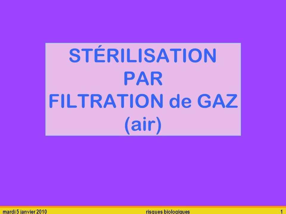 STÉRILISATION PAR FILTRATION de GAZ (air)