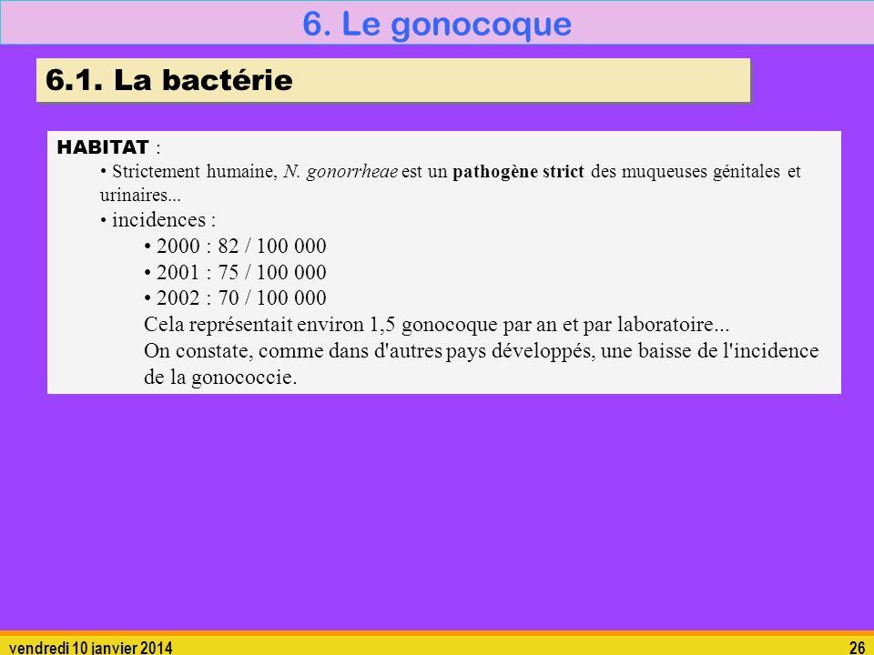 6. Le gonocoque 6.1. La bactérie 2000 : 82 / 100 000
