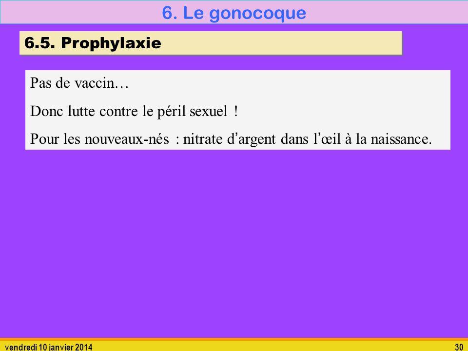 6. Le gonocoque 6.5. Prophylaxie Pas de vaccin…