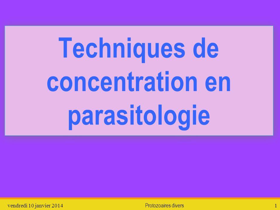 Techniques de concentration en parasitologie