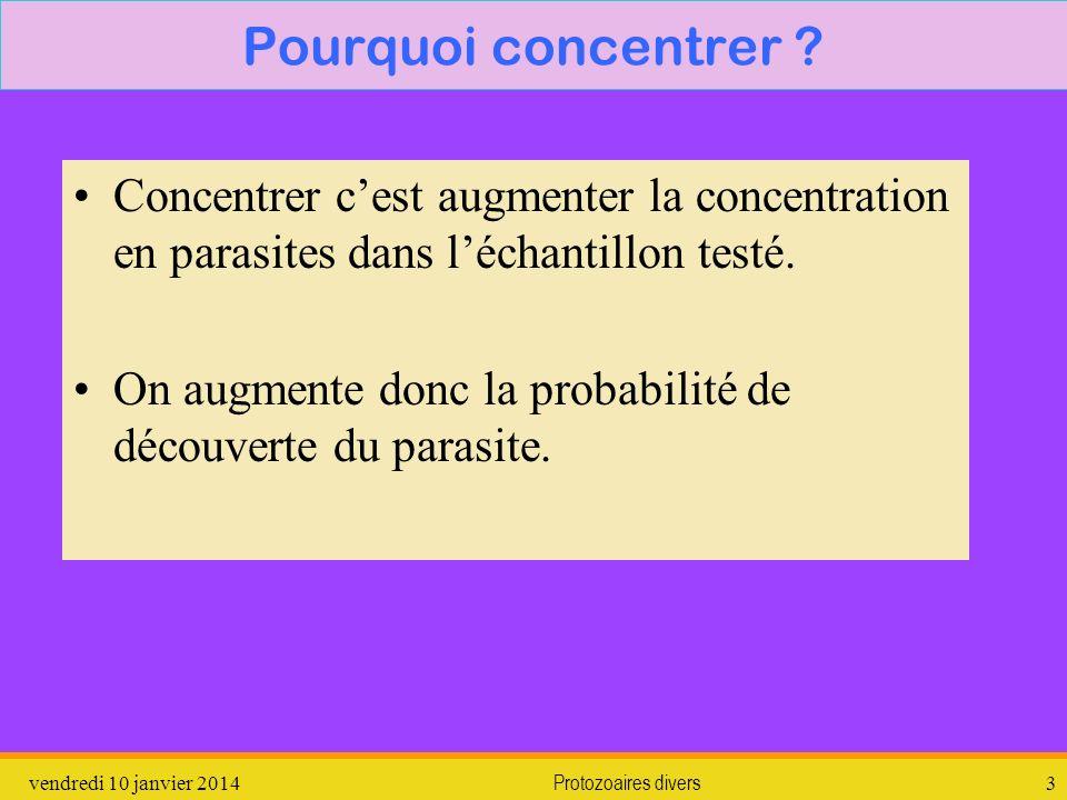 Pourquoi concentrer Concentrer c'est augmenter la concentration en parasites dans l'échantillon testé.
