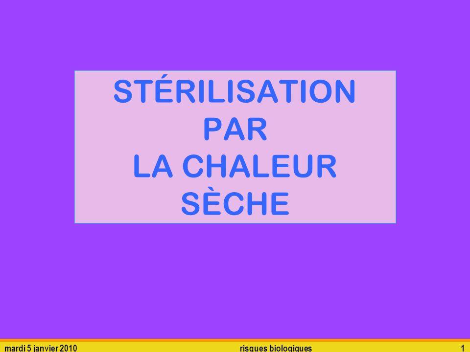 STÉRILISATION PAR LA CHALEUR SÈCHE